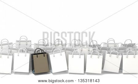 White blank shopping bags with black one. 3D render illustration isolated on white background