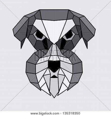 Geometric grey black and white polygonal Schnauzer