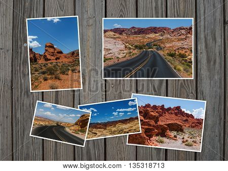 Valley of Fire Nevada in collage with several shots