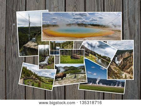 Yellowstone travel tourism concept design - collage of Yellowstone images on wooden background