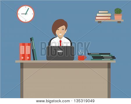 Web banner of an office worker. The woman is an employee at work. Vector flat illustration