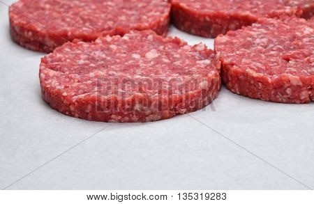 Raw Meat Burgers For Hamburgers On Parchment