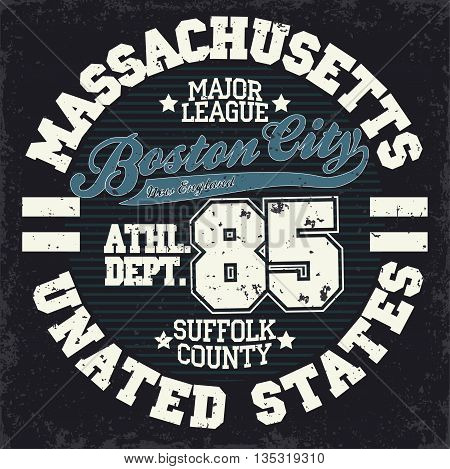 Sport wear typography emblem, Boston t-shirt stamp graphics, vintage tee print, american athletic apparel design graphic print. USA original wear. vector