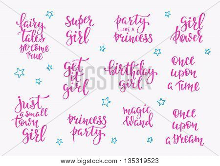 Lettering typography fairy tale girl overlay set. Motivational quote. Cute inspiration typography. Calligraphy postcard poster photo graphic design element. Hand written sign. Princess party