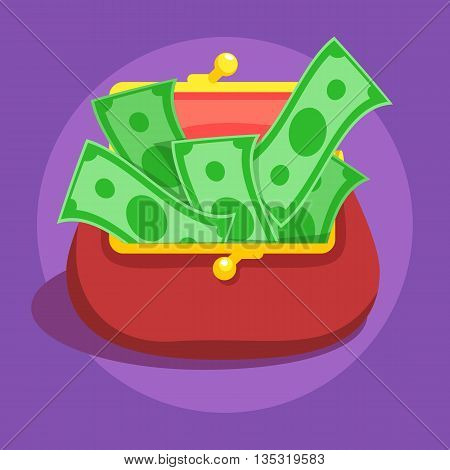 Money bills in red retro wallet flat vector icon illustration, dollar cash, rich financial status sign on violet color background