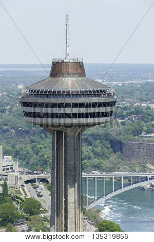 NIAGARA FALLS - MAY 28: Skylon Tower in Niagara Falls view from Canadian side in Niagara Falls on May 28, 2016 in Niagara Falls, Canada.