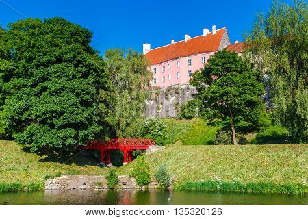Old Park With Snelli Pond And View Of Toompea Hill In Center Of Tallinn. Estonia.