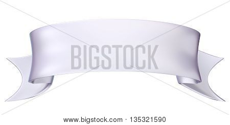 White satin ribbon tag label. 3D render illustration isolated on white background