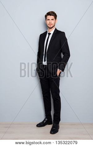 Full Length Portrait Of Handsome Man In Suit Holding Hands In Pockets