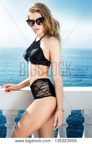 Sexy Girl In Swimsuit Posing.