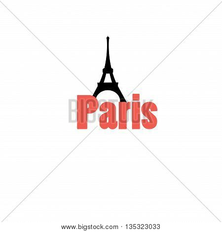 Beautiful vector icon with the word Paris and the Eiffel tower