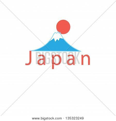 Beautiful vector icon with the word Japan and Mount Fuji