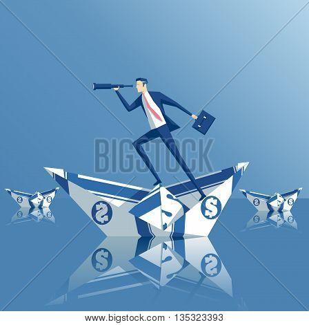 Business concept investment and search businessman on a paper boat floats paper boat from the bill origami made out of money