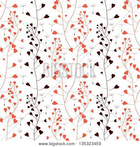 Romantic Weeds with hearts, vector seamless pattern on white