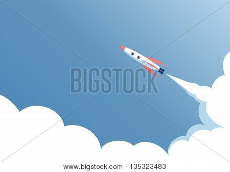spacecraft flight against the blue sky the start of space ship on a blue background startup concept