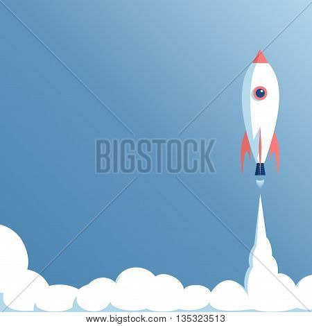 cartoon spaceship launch on blue background startup concept vector illustration