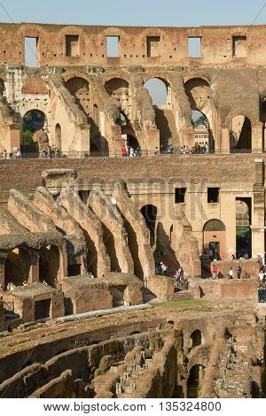 ROME, ITALY - OCTOBER 4, 2010: Tourists Visiting Colosseum or Coliseum in Rome Italy