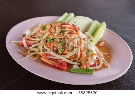 Green papaya seafood salad (Som Tum in Thai)