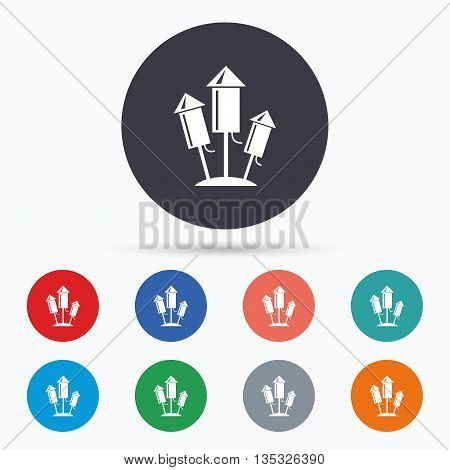 Fireworks rockets icon. Explosive pyrotechnic. Flat fireworks icon. Simple design fireworks symbol. Fireworks graphic element. Circle buttons with fireworks icon. Vector