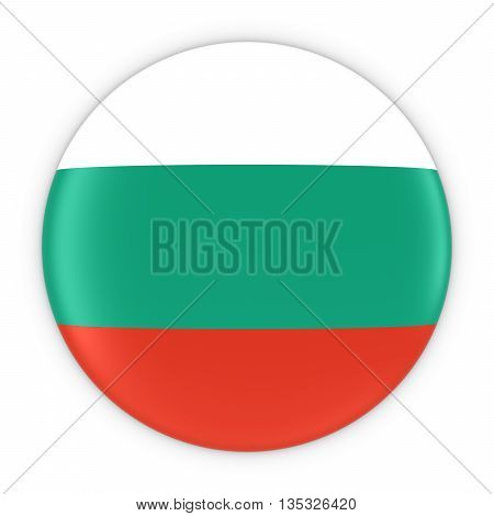 Bulgarian Flag Button - Flag Of Bulgaria Badge 3D Illustration