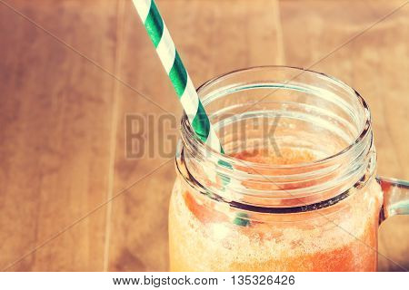 Mason Jar With Carrot Juice Smoothie
