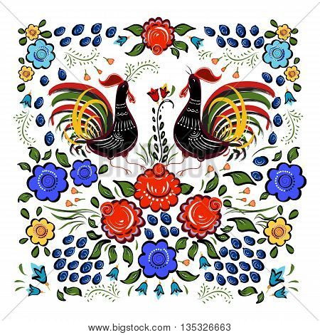 Folk background.Colorful flowers and leafs with cocks on white background.