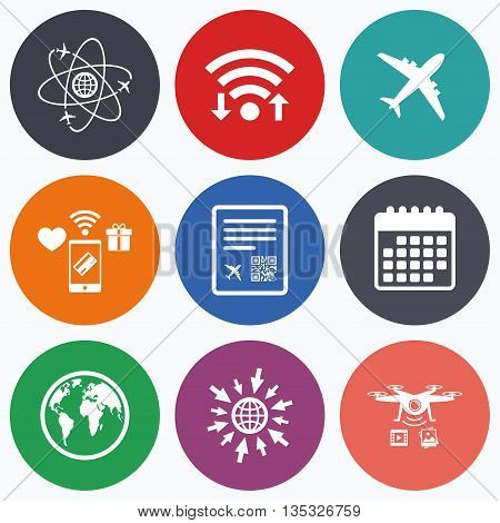 Wifi, mobile payments and drones icons. Airplane icons. World globe symbol. Boarding pass flight sign. Airport ticket with QR code. Calendar symbol.