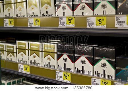 Indianapolis - Circa June 2016: Packs of Marlboro Cigarettes. Marlboro is a product of the Altria Group I