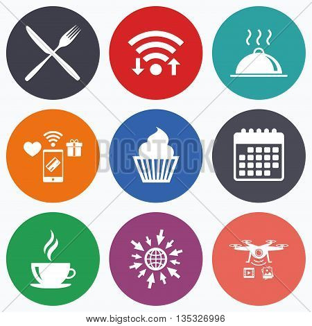 Wifi, mobile payments and drones icons. Food and drink icons. Muffin cupcake symbol. Fork and knife sign. Hot coffee cup. Food platter serving. Calendar symbol.