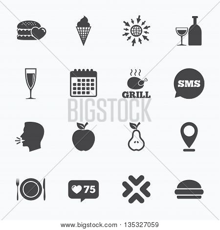 Calendar, go to web and like counter. Food, drink icons. Grill, burger and ice cream signs. Chicken, champagne and apple symbols. Sms speech bubble, talk symbols.