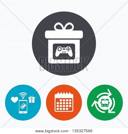 Gift box sign icon. Present with video game joystick symbol. Mobile payments, calendar and wifi icons. Bus shuttle.