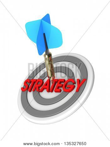 Dart hitting target. Strategy concept. 3D illustration.
