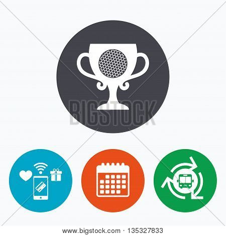 Golf ball sign icon. Sport symbol. Winner award cup. Mobile payments, calendar and wifi icons. Bus shuttle.
