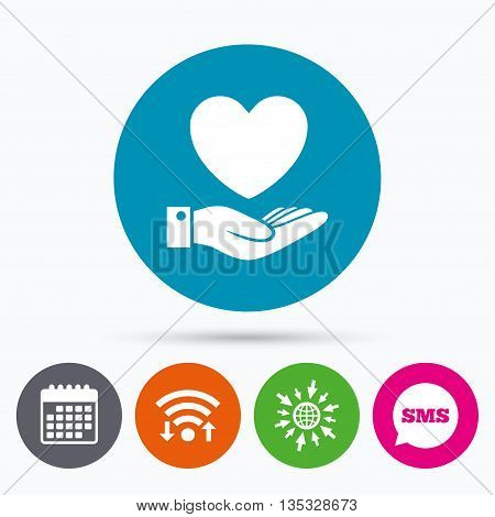Wifi, Sms and calendar icons. Heart and hand sign icon. Palm holds love symbol. Go to web globe.