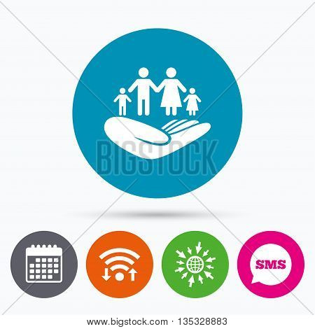 Wifi, Sms and calendar icons. Family life insurance sign. Hand holds human group symbol. Health insurance. Go to web globe.