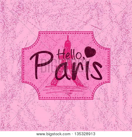 Print with lettering about Paris in retro style on pink background with scattering and fading. Pattern for fabric textiles clothing shirts t-shirts. Vector illustration