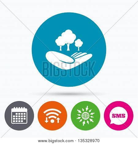 Wifi, Sms and calendar icons. Save forest sign icon. Hand holds tree symbol. Environmental protection symbol. Go to web globe.