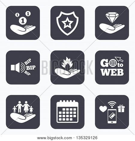 Mobile payments, wifi and calendar icons. Helping hands icons. Financial money savings, family life insurance symbols. Diamond brilliant sign. Fire protection. Go to web symbol.