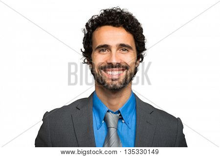 Smiling businessman portrait on white background