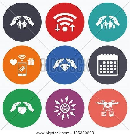 Wifi, mobile payments and drones icons. Hands insurance icons. Couple and family life insurance symbols. Heart health sign. Diamond jewelry symbol. Calendar symbol.