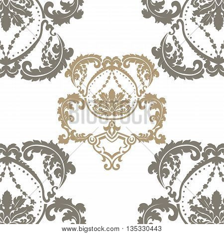 Damask Royal ornament pattern in English vintage Victorian style. Luxury texture for fabric textile design wedding invitations greeting cards background. Beige colors. Vector
