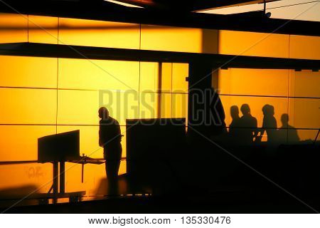 Silhouette of a guardians in a travel security check inspection point.