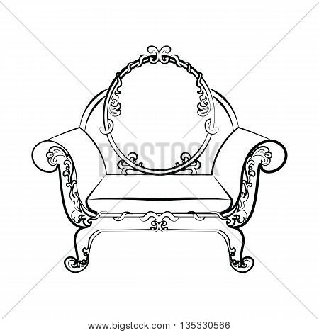 Classic royal armchair with acanthus floral ornaments . Vector sketch