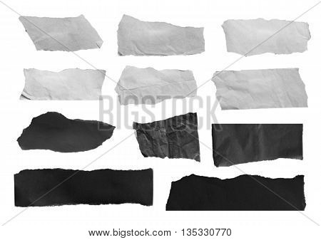black and white paper, copy space on white background
