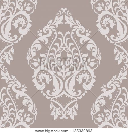 Vector Damask Pattern ornament Imperial style. Ornate floral element for fabric textile design wedding invitations greeting cards. Oyster pink color