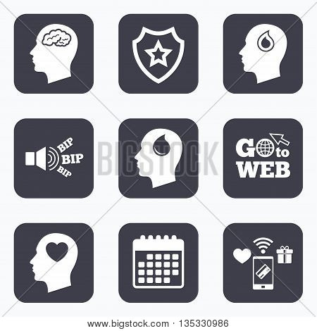 Mobile payments, wifi and calendar icons. Head with brain icon. Male human think symbols. Blood drop donation sign. Love heart. Go to web symbol.