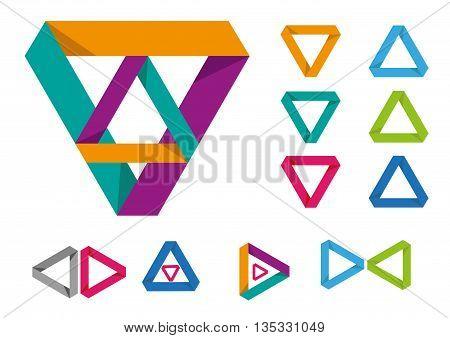 Set of triangular modern frame or logo. Editable Clip Art.