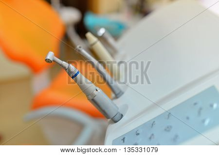 Set of dentist equipment, shallow depth of field.