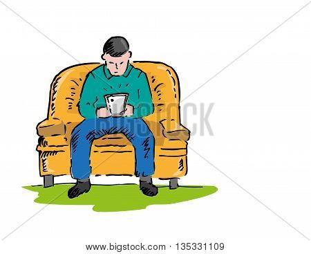 Man using a tablet doodle concept. Editable Clip Art.