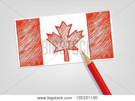Canada Flag Sketch Style with Red Pencil Color. Editable Clip art.